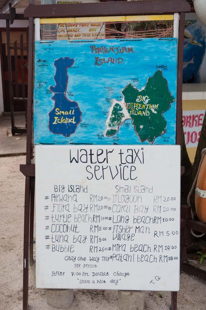 Perhentian Islands Wassertaxi Preise