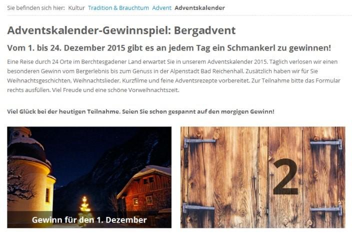 Online Adventskalender 2015 Bergadvent
