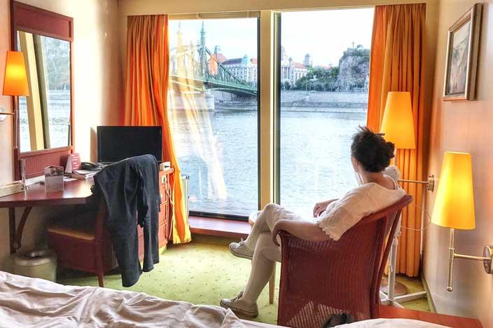 A-ROSA Riva Flusskreuzfahrt Donau Kabine Panoramafenster