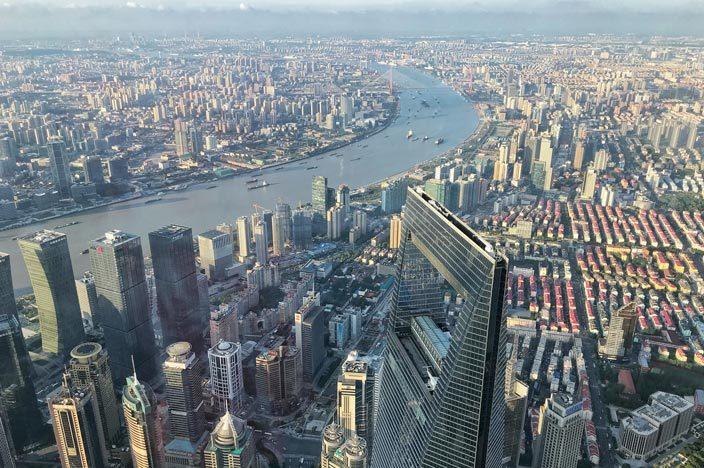 Shanghai Tower: Aussicht über die Stadt mit Blick auf den Flaschenöffner
