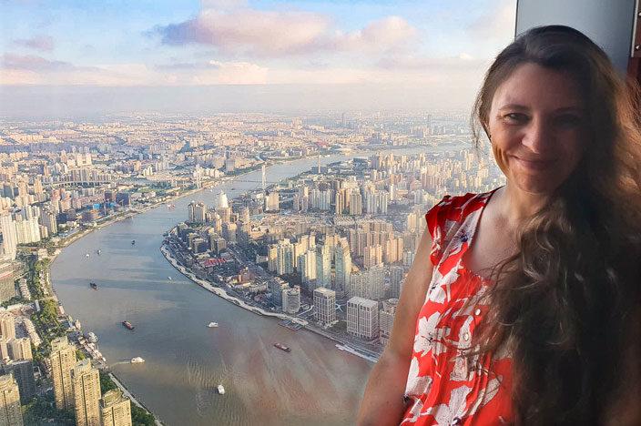 Reiseaufnahmen auf dem Shanghai Tower